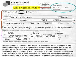 IMPRESO OFICIAL DEL CAT SALUT DE RECLAMACIONES